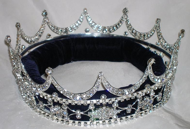 Queen king  unisex rhinestone silver full Tudor Royal Crown