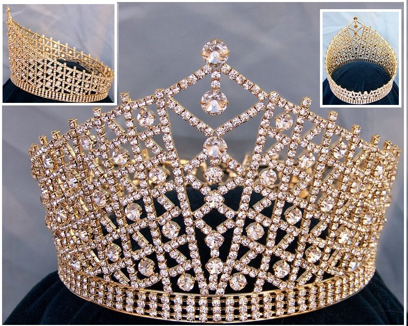 Miss Beauty Pageant Queen Rhinestone Gold full Crown Tiara