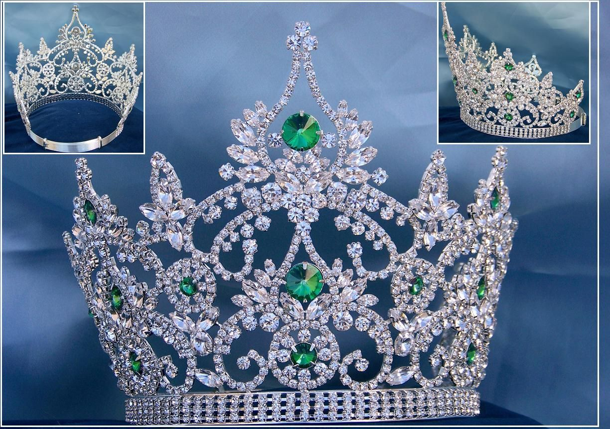 Continental adjustable Emerald Rhinestone Crown Tiara