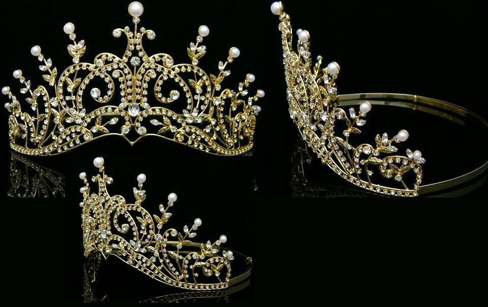Leaey-Spray Tiara 1905 English Rhinestone gold Crown Bridal Princess Tiara